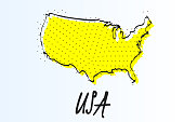 Map of United States, halftone abstract background. The black dots on a yellow background. drawn border line. vector illustration