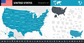 Map of United States - Infographic Vector