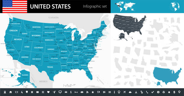 map of united states - infographic vector - north america maps stock illustrations, clip art, cartoons, & icons