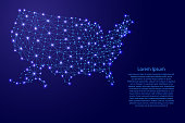 Map of United States of America from polygonal blue lines and glowing stars vector illustration
