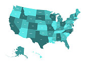 Map of United States of America, USA, in four shades of turquoise blue with white state labels. Simple flat vector illustration isolated on white background
