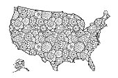 Map of United States of America with flowers. Black and white vector illustration, coloring page for adults