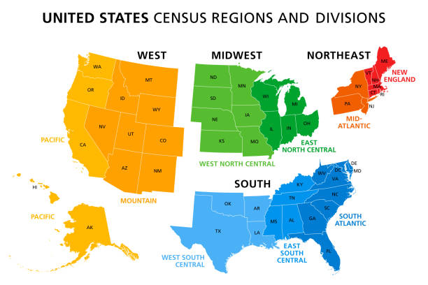 Map of United States split into Census regions and divisions Map of United States split into Census regions and divisions. Region definition, widely used for data collection and analysis. Most commonly used classification system. English. Illustration. Vector eastern usa stock illustrations