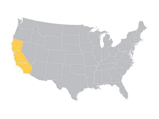 map of United States with indication of California vector map of United States with indication of California oakland stock illustrations
