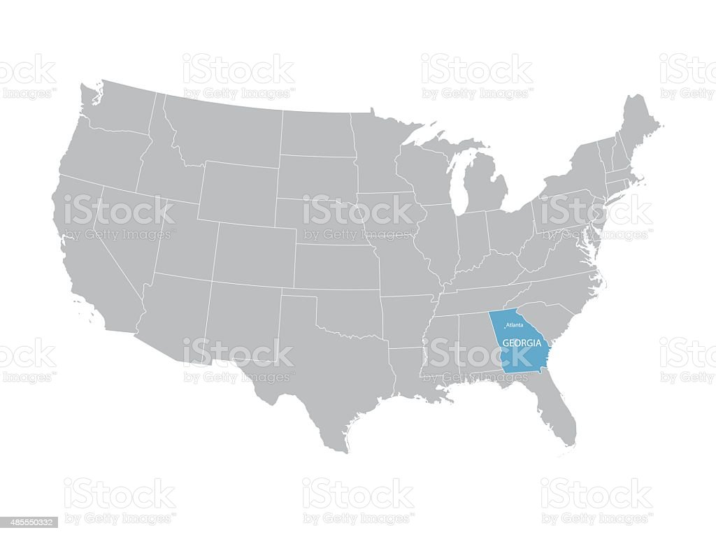 Map Of Georgia United States.Map Of United States With Indication Of Georgia Stock Vector Art