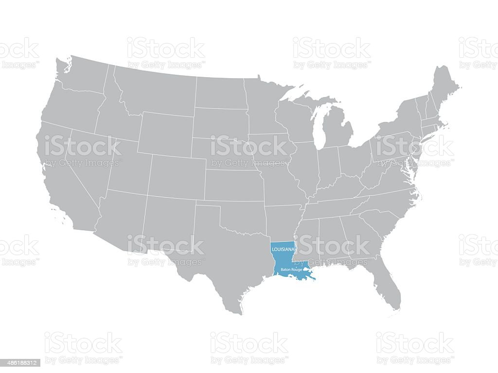 Map Of United States With Indication Of Louisiana Stock Vector Art Map Of Louisiana And Surrounding States on map california to texas, map with bordering states of kansas, louisiana border states, florida bordering states, detailed map of southern states, map of lafayette la and surrounding areas, map of california and bordering states, map of united states in french, california's bordering states, map of california state parks, map of downtown new orleans street map, map of texas and arizona, mississippi surrounding states,