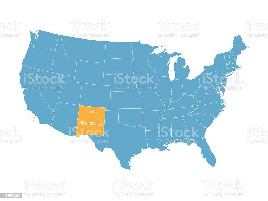 Map Of United States With Indication Of New Mexico Stock Vector - New mexico us map