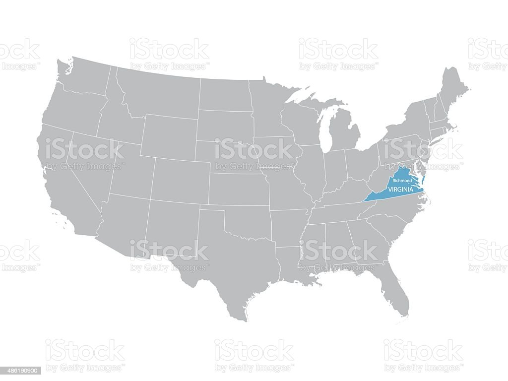Map Of United States With Indication Of Virginia Stock Vector Art - Richmond-virginia-on-us-map