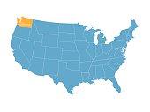 map of United States with indication of Washington