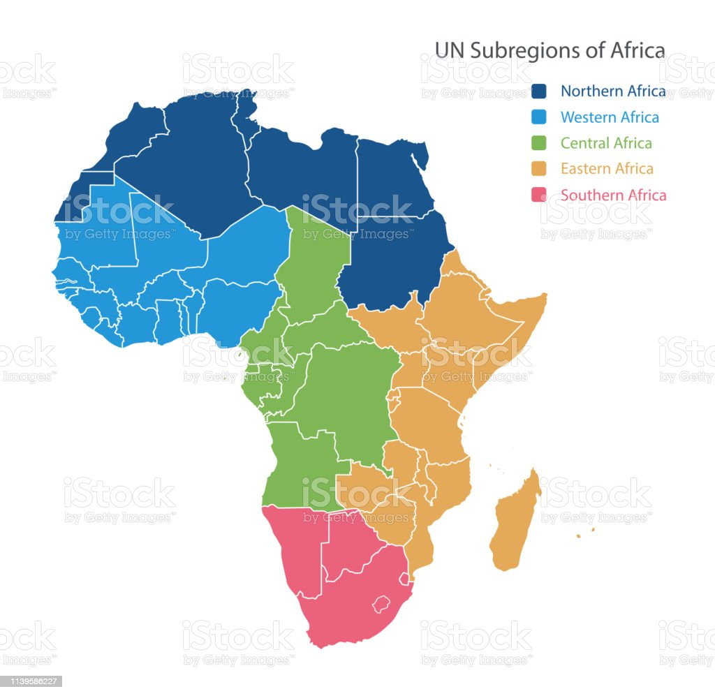 Map Of Africa Regions.Map Of Unsd Regions Of Africa Stock Illustration Download Image