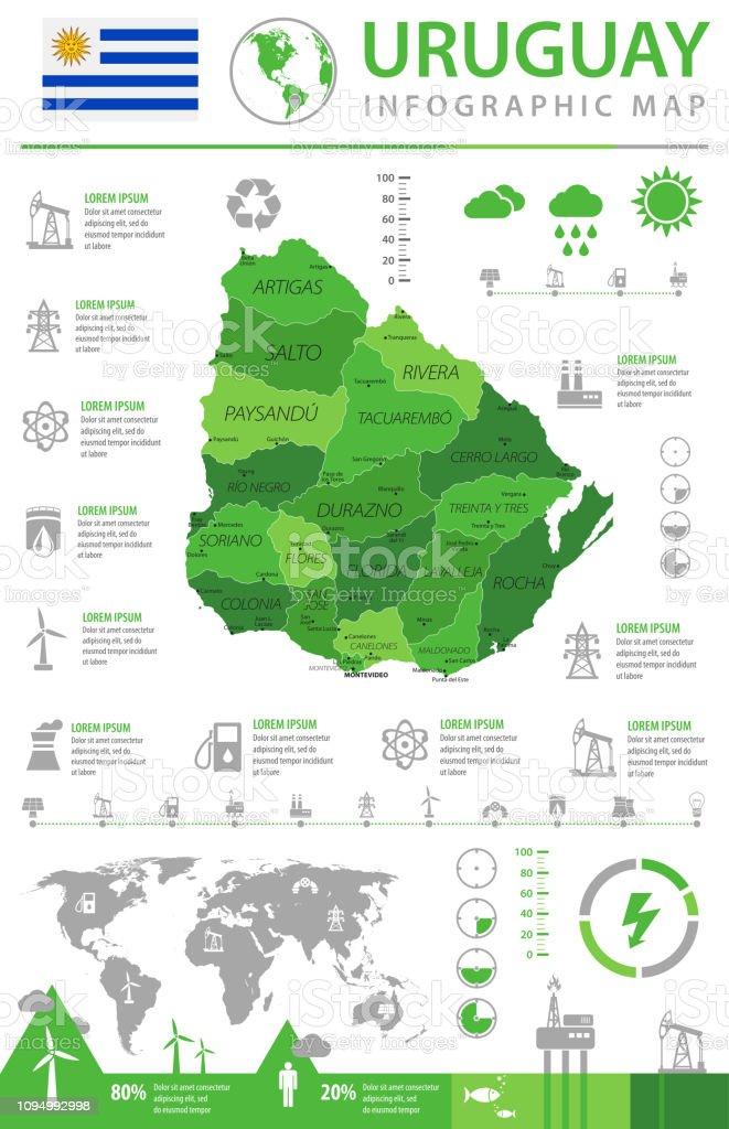 Map of Uruguay - Infographic Vector