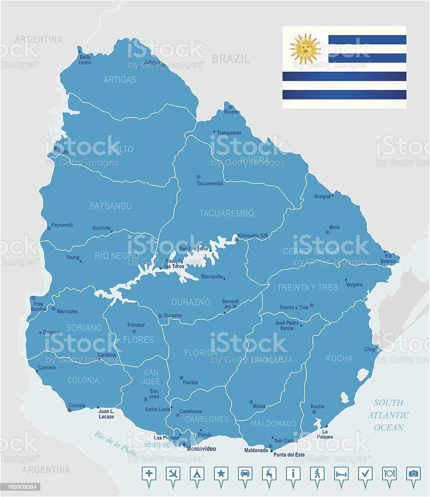 Mapa de uruguayestados ciudades y los iconos de navegacin bandera mapa de uruguay estados ciudades y los iconos de navegacin bandera mapa de gumiabroncs Image collections