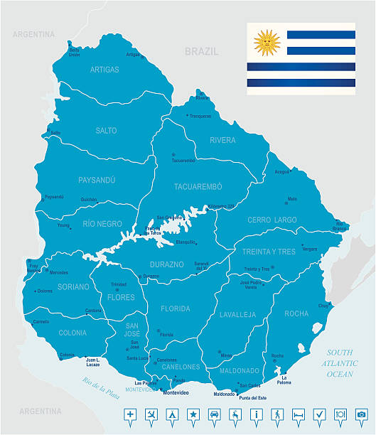 Map of Uruguay - states, cities, flag and navigation icons Highly detailed vector map of Uruguay with states, capitals and big cities. cannelloni stock illustrations