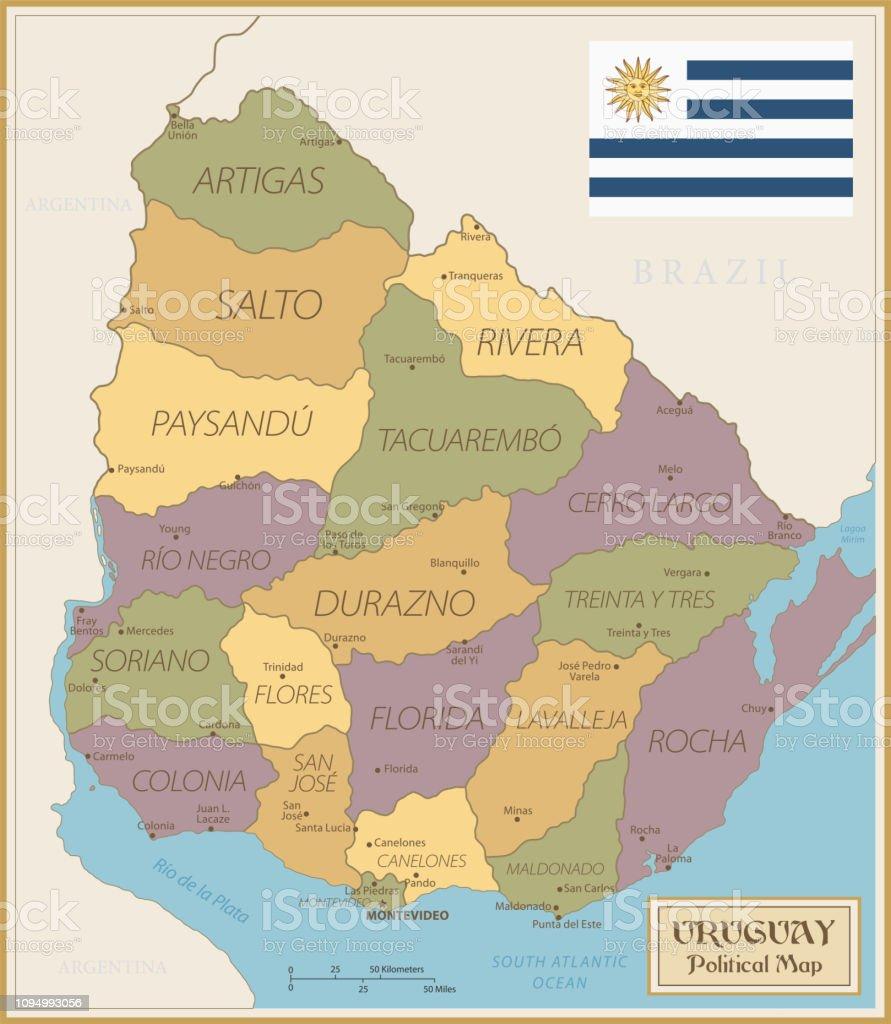 Map of Uruguay - Vintage Vector