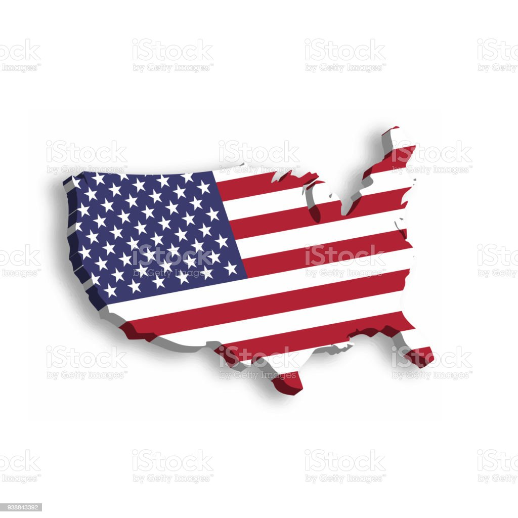 Map Of America 3d Vector.3d Map Of Usa Aka United States Of America In A Shape Of Us Map