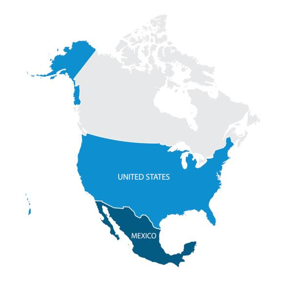 map of usa and mexico - north america maps stock illustrations, clip art, cartoons, & icons
