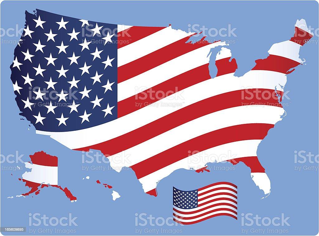 Map of USA  /  Flag Design royalty-free stock vector art