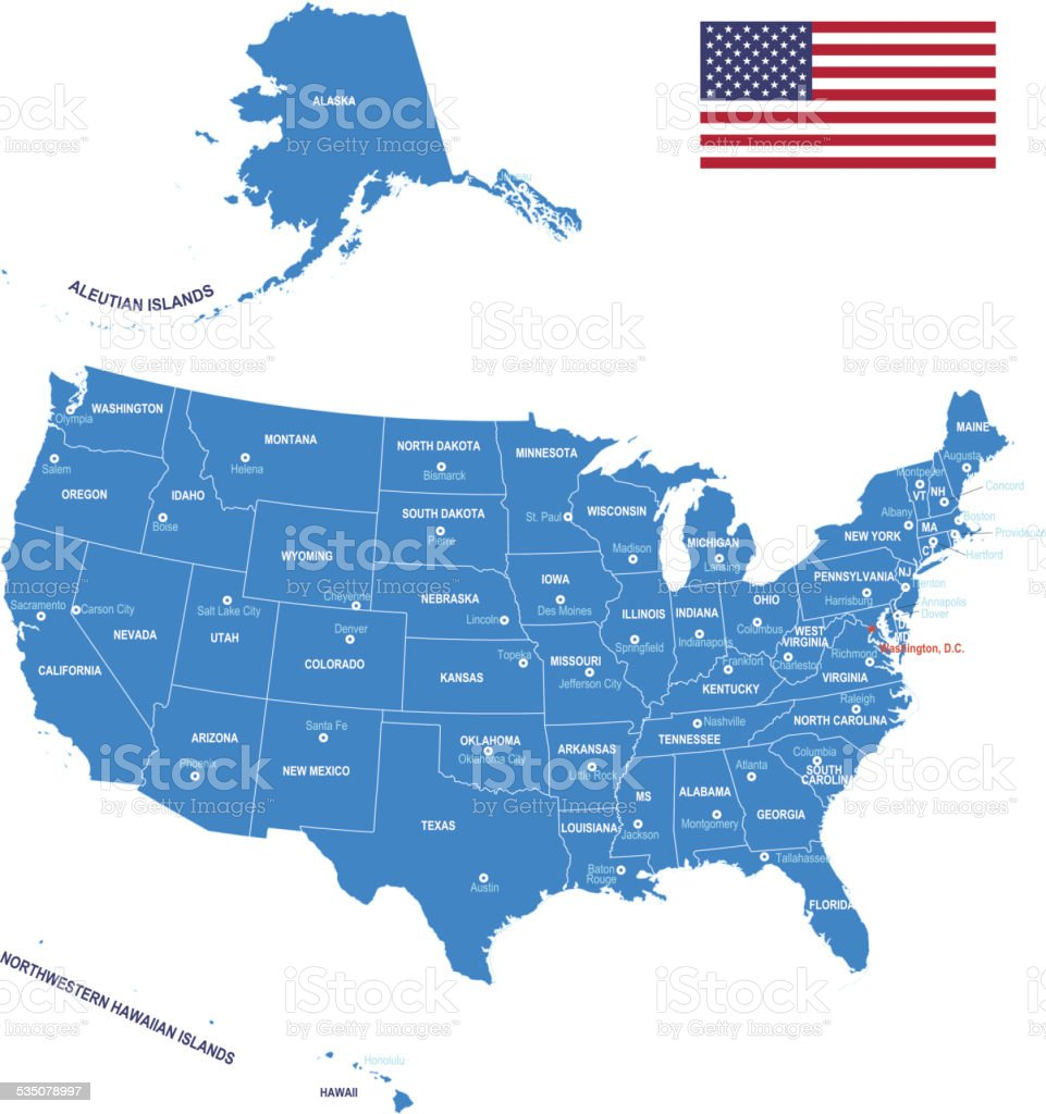 Map of USA - Flag, states and cities. vector art illustration