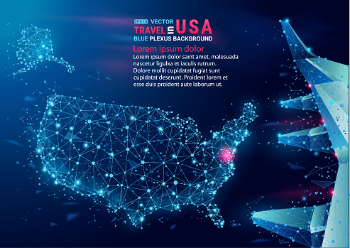 Map of USA. Floating blue plexus geometric background. Abstract vector.