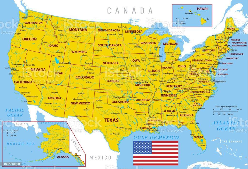 Map Of Usa High Detailed Orange Vector Map With Borders And ...
