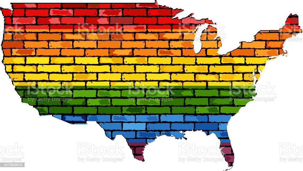 Mapa de Estados Unidos en colores de LGBT - ilustración de arte vectorial