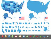 Map of USA - states, cities and navigation icons