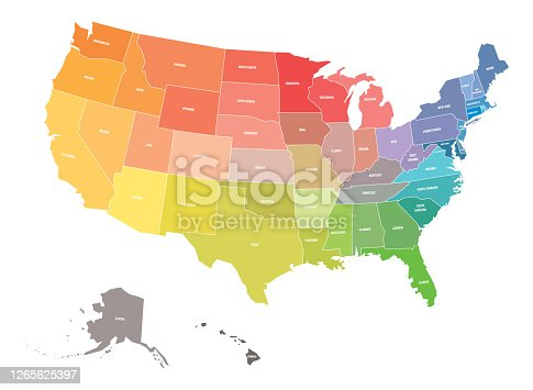istock Map of USA, United States of America, in colors of rainbow spectrum. With state names 1265625397