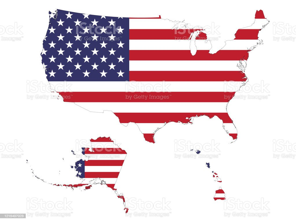 Picture of: Map Of Usa With Alaska And Hawaii With American Flag Stock Illustration Download Image Now Istock