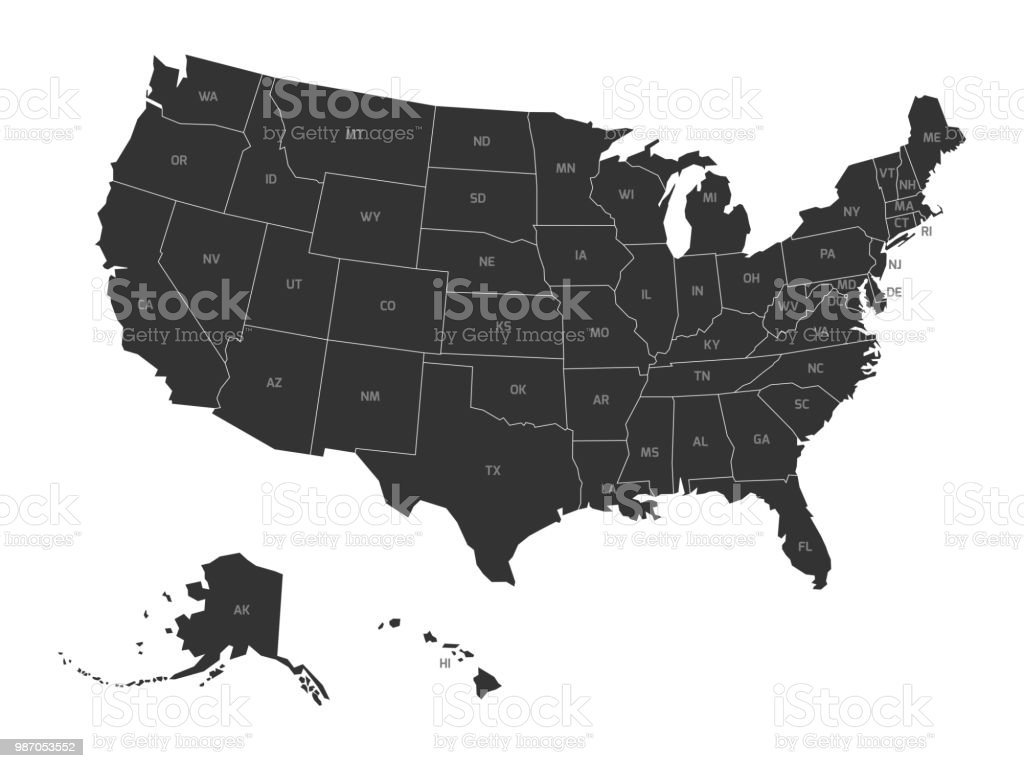 Map of USA with state abbreviations vector art illustration
