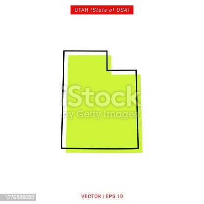 Map of Utah Vector Illustration Design Template. USA State. Vector eps 10.