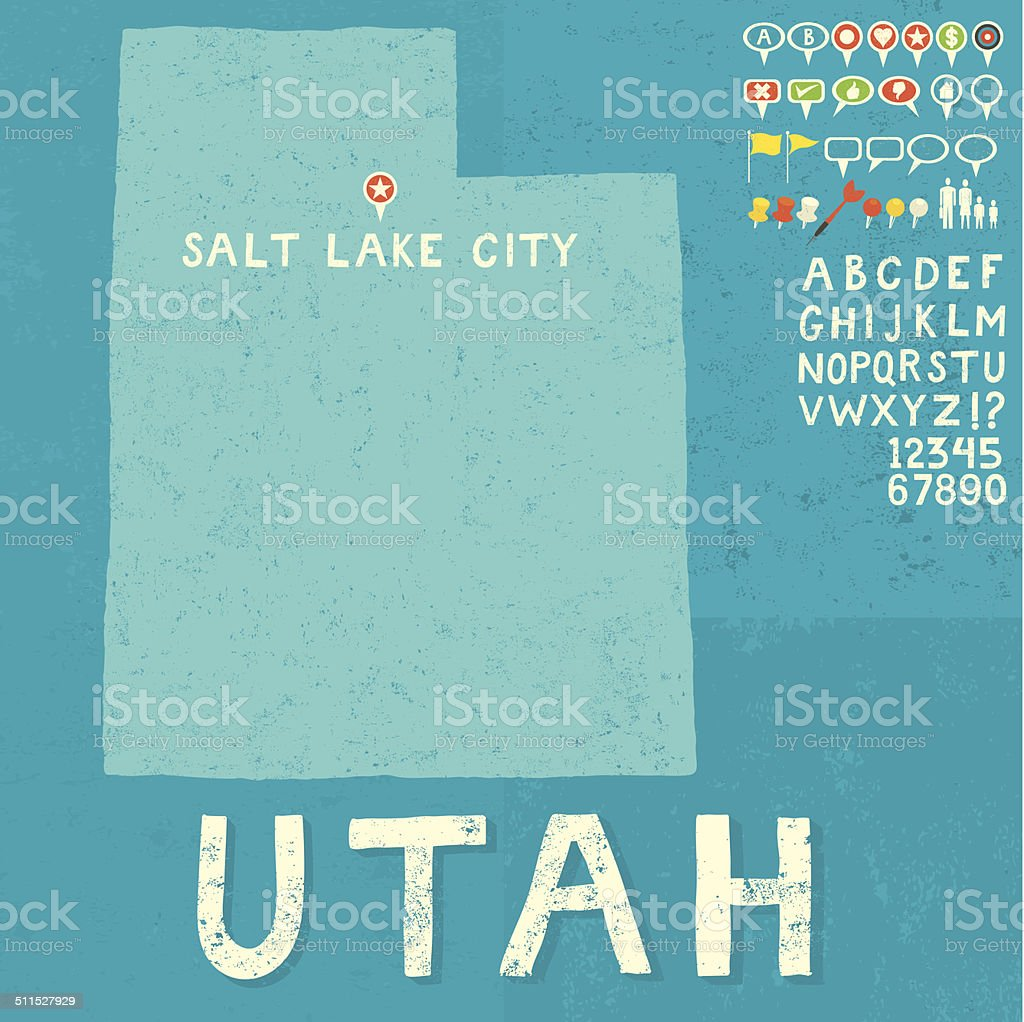 Map of Utah with icons vector art illustration