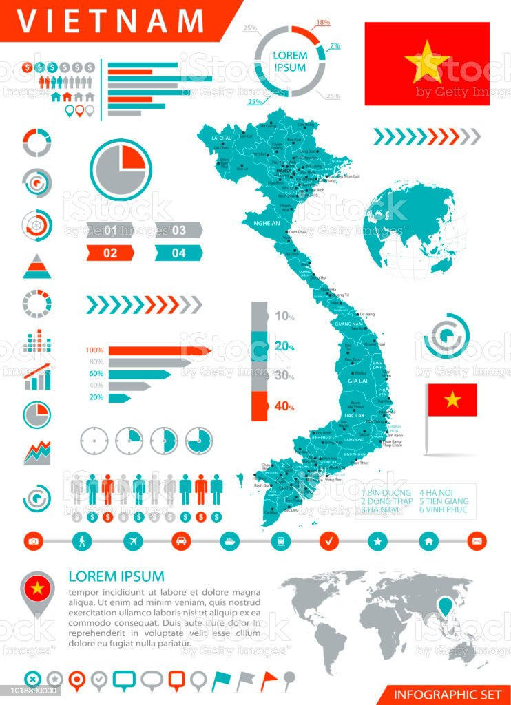 Map Of Vietnam Infographic Vector Stock Vector Art & More Images of ...