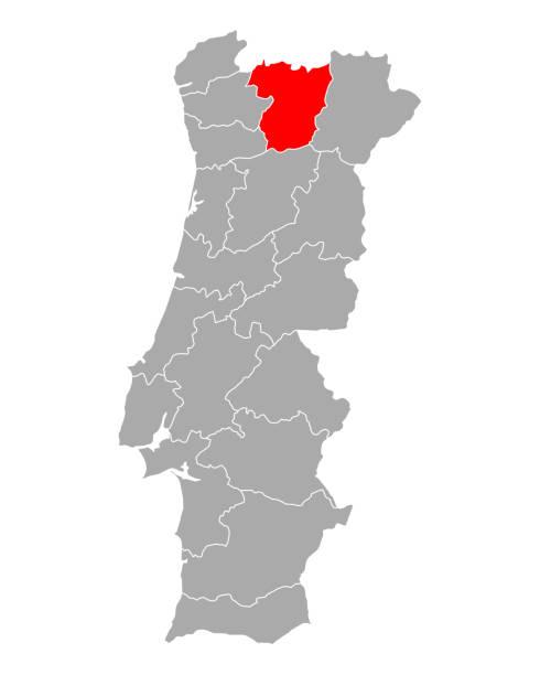 ilustrações de stock, clip art, desenhos animados e ícones de map of vila real in portugal - vila real