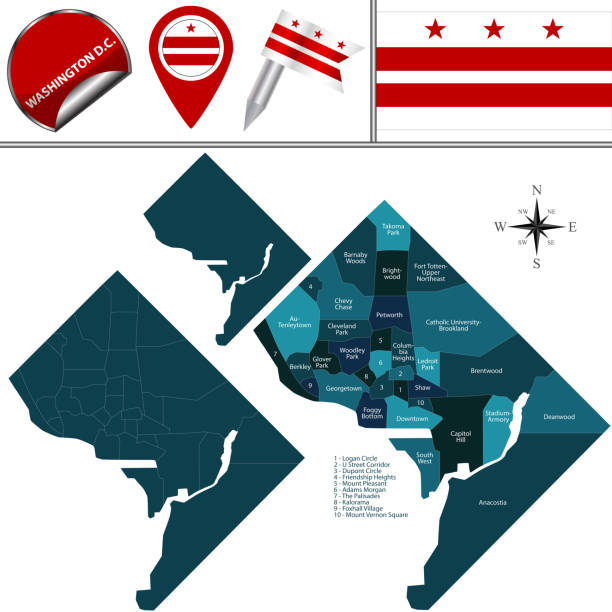 Map of Washington DC with Districts Vector map of Washington DC of the United States with named districts and travel icons washington dc stock illustrations
