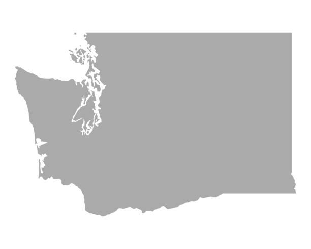 Map of Washington Map of Washington washington state stock illustrations