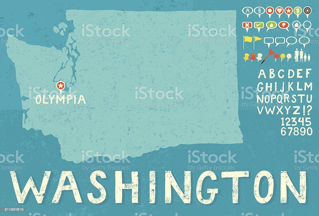 Map of Washington with icons vector art illustration