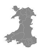 Gray Flat Map of Principal Areas of Wales