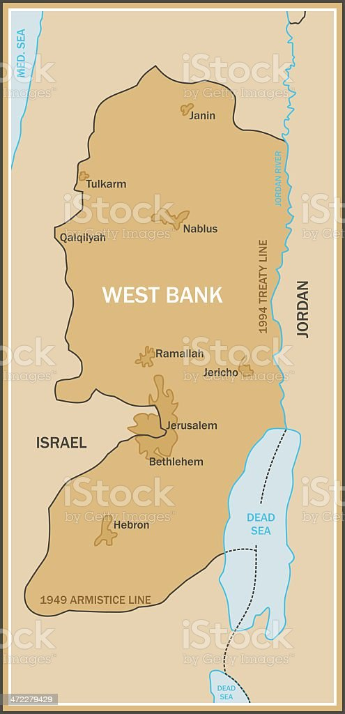 Map of West Bank vector art illustration