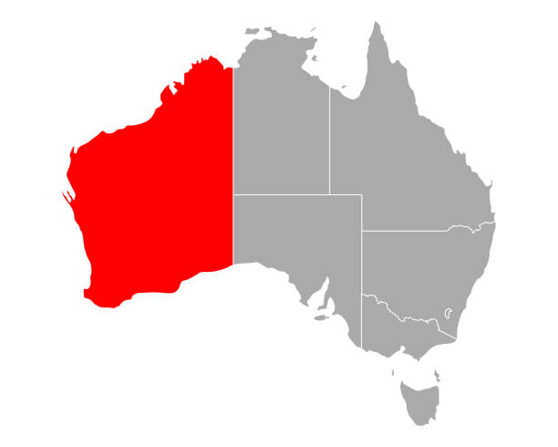 map of western australia in australia - western australia stock illustrations