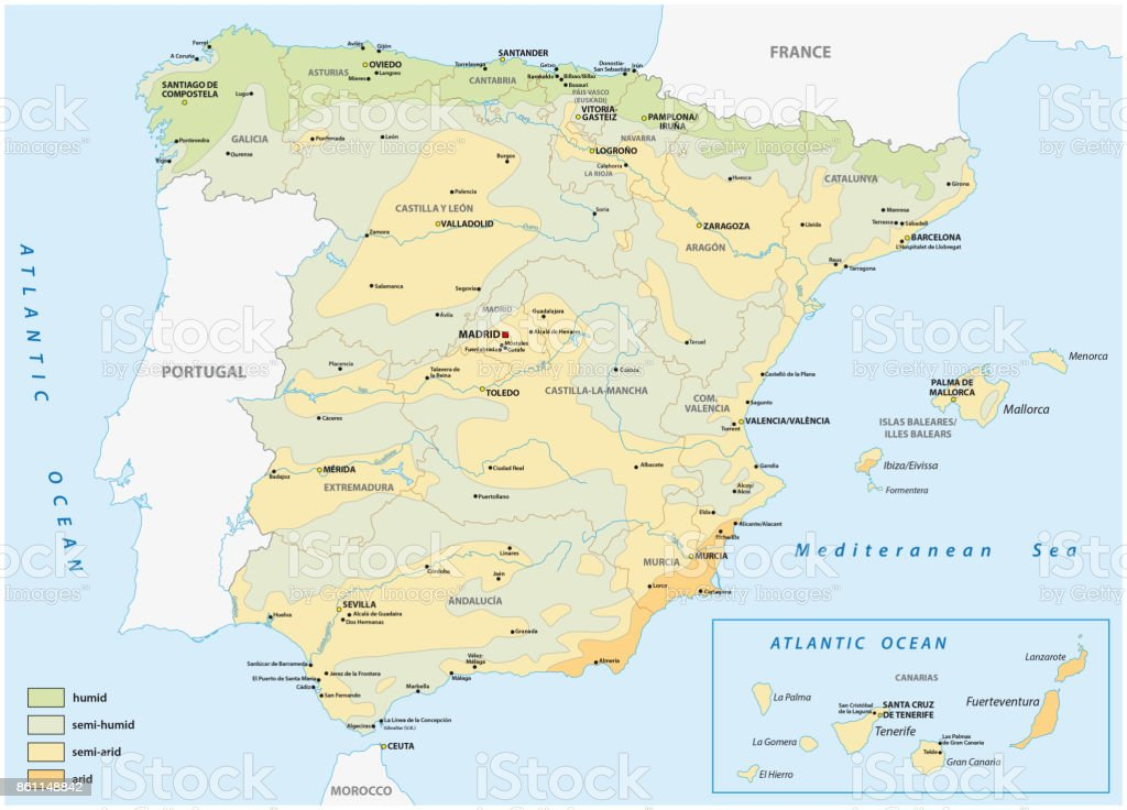 Map of wet and dry areas in spain vector art illustration