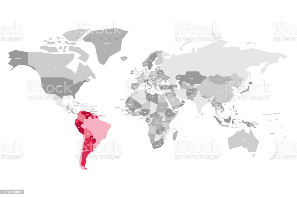 Map of world in grey colors with red highlighted countries of south map of world in grey colors with red highlighted countries of south america vector illustration gumiabroncs Gallery