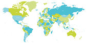 istock Map of World in shades of green and blue. High detail political map with country names. Vector illustration 1265512949