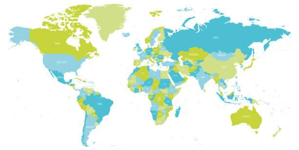 mapa świata w odcieniach zieleni i niebieskiego. mapa polityczna o wysokiej szczegółowości z nazwami krajów. ilustracja wektorowa - mapa świata stock illustrations