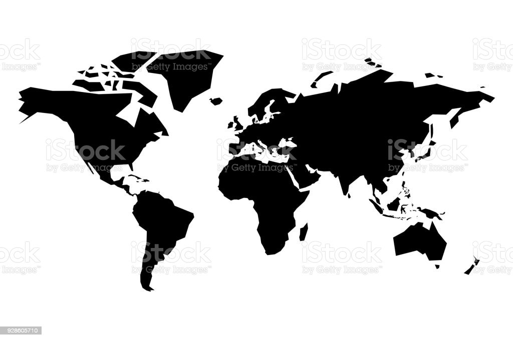 Map of world vector silhouette simplified black map on white map of world vector silhouette simplified black map on white background royalty free map gumiabroncs Image collections