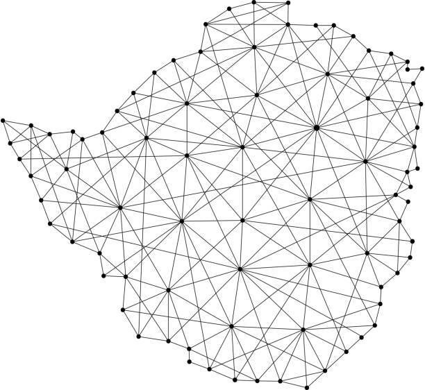 karte von simbabwe aus polygonalen schwarzen strichen und punkten von vektor-illustration - salisbury stock-grafiken, -clipart, -cartoons und -symbole