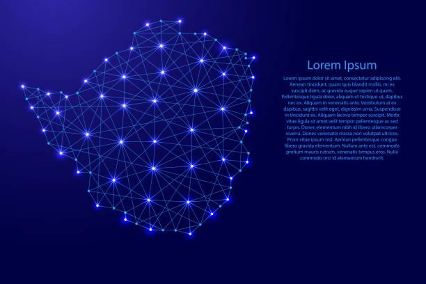 karte von simbabwe aus polygonalen blaue linien und leuchtenden sterne vektor-illustration - salisbury stock-grafiken, -clipart, -cartoons und -symbole