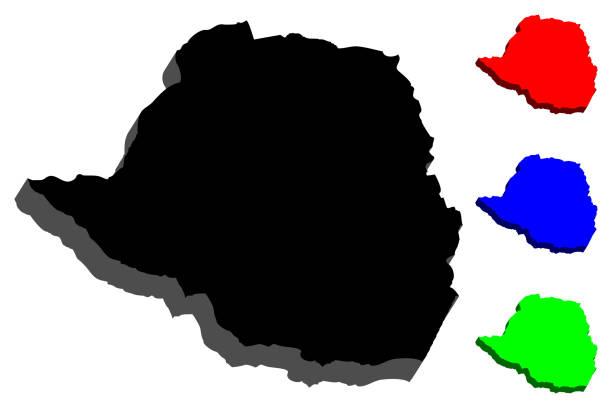 3d karte von simbabwe - salisbury stock-grafiken, -clipart, -cartoons und -symbole