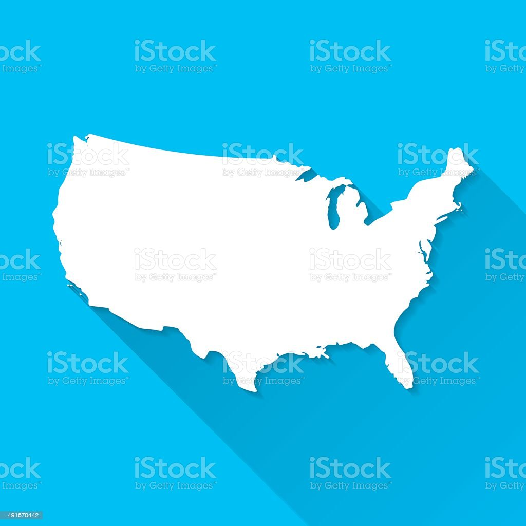 USA Map on Blue Background, Long Shadow, Flat Design vector art illustration