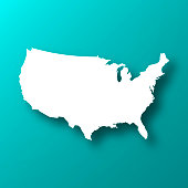 White map of USA isolated on a trendy color, a blue green background and with a dropshadow. Vector Illustration (EPS10, well layered and grouped). Easy to edit, manipulate, resize or colorize.