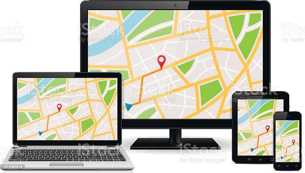 Ilustración de Mapa Gps En Pantalla De Dispositivos Digitales y más ...